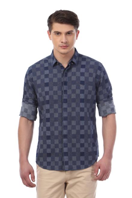 V Dot Shirts Van Heusen Navy Shirt For Men At