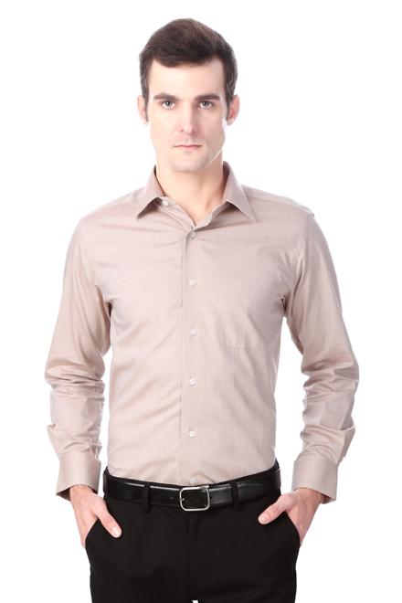 Peter England Beige Check Short Sleeve Cotton Shirt