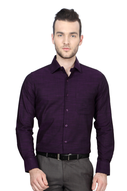 Peter England Purple Shirt