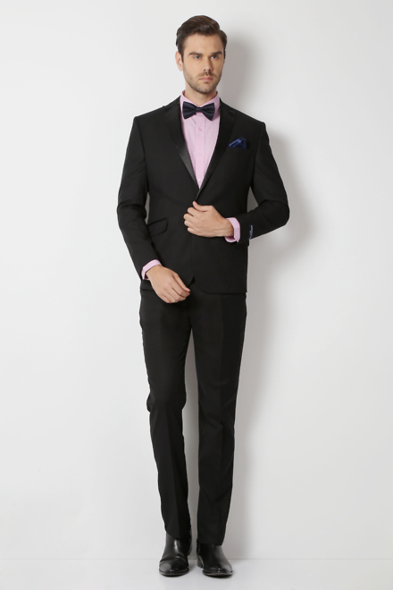 Peter England Black Euro Fit Two Piece Suit