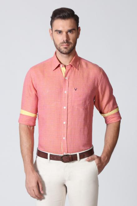 Allen Solly Shirts, Allen Solly Peach Shirt for Men at Allensolly.com