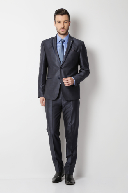 Peter England Greyish Blue Euro Fit Two Piece Suit