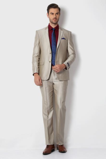 Peter England Beige Two Piece Suit