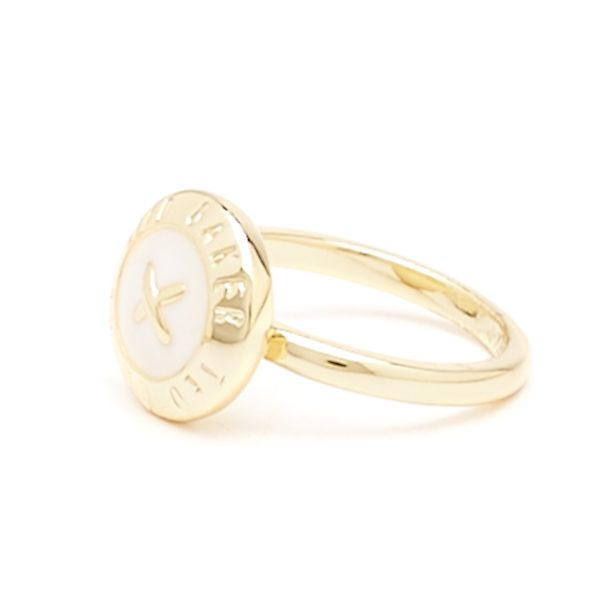 Ted Baker Jewellery Ester Enamel Big Button White Gold Ring for