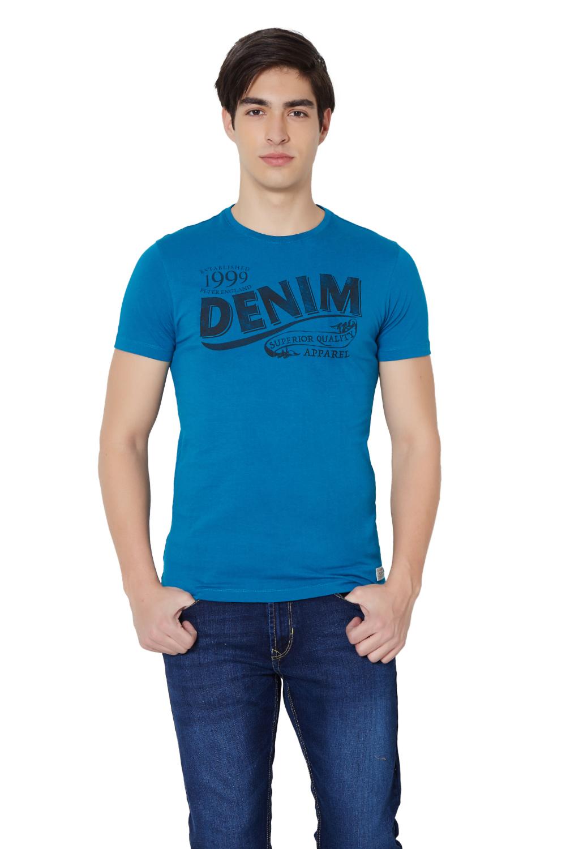 Black t shirt jabong -  Peter England Blue T Shirt