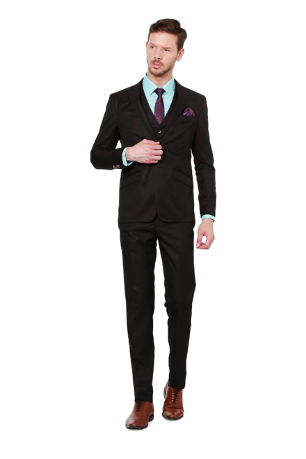 Peter England Black Three Piece Suit