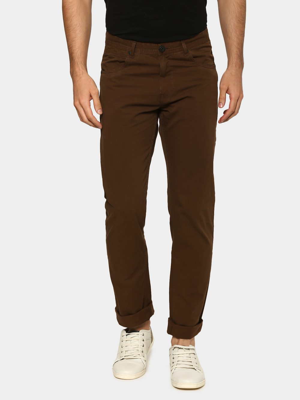 eb00a5696f0 45% OFF. abof Men Brown Slim Fit Overdyed Casual Trousers