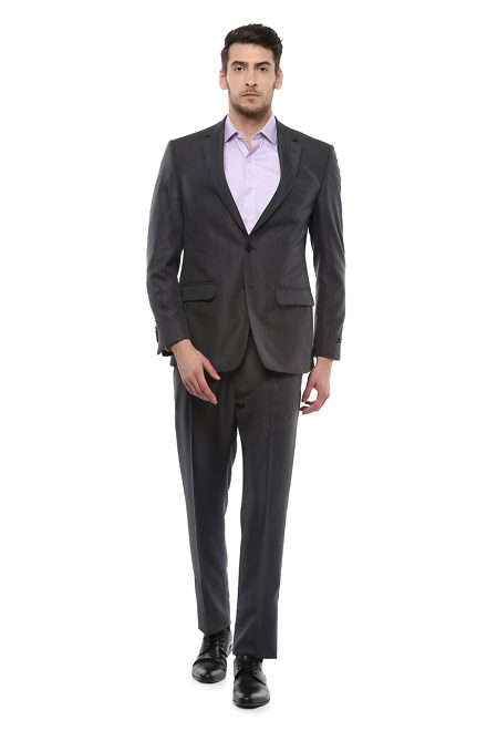 Peter England Grey Two Piece Suit