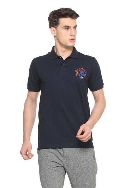 Peter England CSK Navy Polo T Shirt