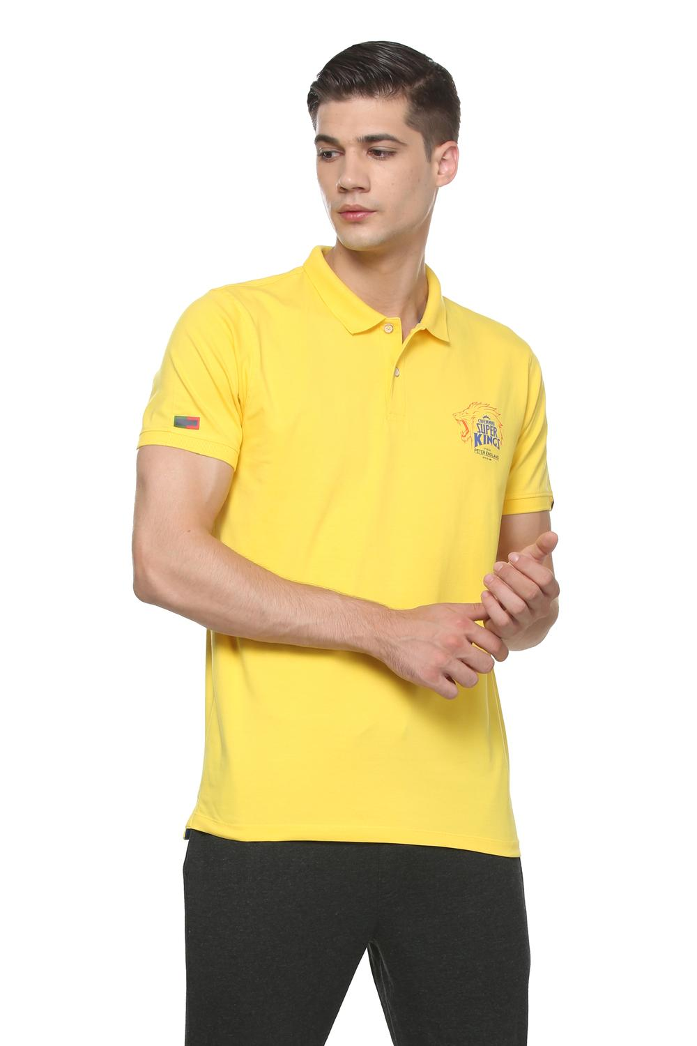 f47cfc2ee57aa2 Peter England Casuals T-Shirts, Peter England CSK Yellow Polo T Shirt for Men  at Peterengland.com