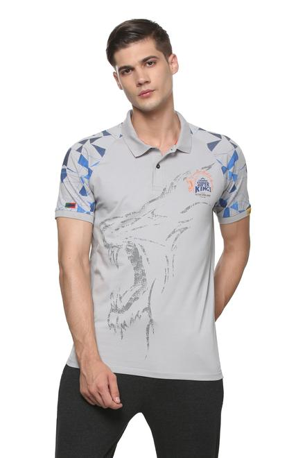 Peter England CSK Grey Polo T Shirt