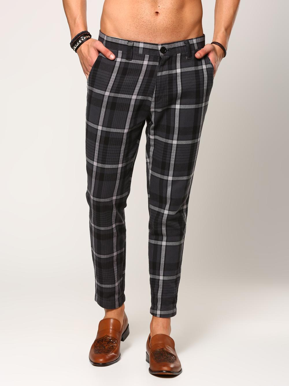 bdada6974a0 Product Image. Product Image. Product Image. Product Image. Product Image.  Product Image. 35% OFF. abof Men Grey Checkered Slim Fit Casual Pants