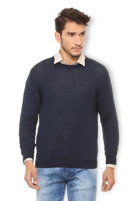 9ca84e08d75ae0 V Dot Sweaters, Van Heusen Navy Sweater for Men at ...