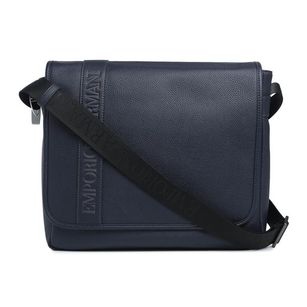 46d29a4f5ac056 Emporio Armani Bags, Navy Pebbled Messenger Bag for Men at Thecollective.in
