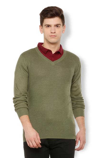 30630650aa26a6 Van Heusen Sweaters, Van Heusen Olive Sweater for Men at ...