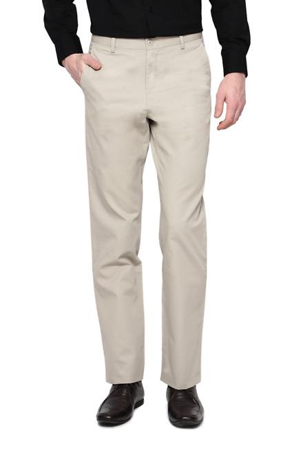 Beige Flat Front Trousers