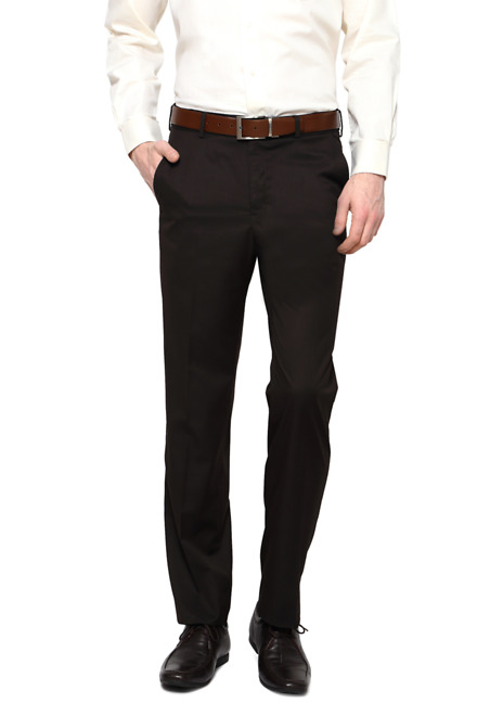 Brown Flat Front Trousers